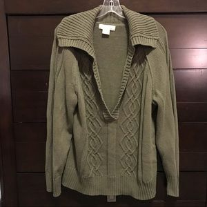 MICHAEL KORS green cable knit sweater